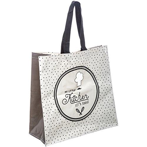 Promobo - Sac Pour Course Shopping Cabas Vintage Little Kitchen Blanc