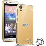 HICASER Duro Híbrido Carcasa para HTC Desire 820 Bumper Case del Metal Aluminio + PC Ultrafina Espejo Efecto Trasero Funda Cover Dorado