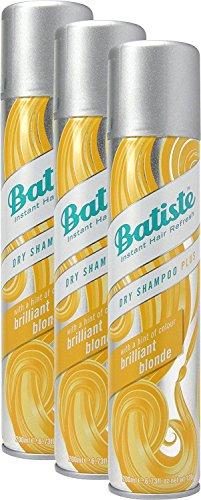Batiste Trockenshampoo Dry Shampoo Brilliant Blonde mit einem Hauch von Farbe für blondes Haar, Frisches Haar für alle Haartypen, 3er Pack 2+1 (3 x 200 ml)