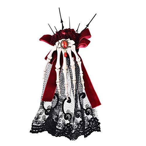Sijux Fascinators Hut Steampunk Hatskeleton Vintage Hut Haarnadel Haarspange für Frauen Halloween/Cosplay/Festival,Red