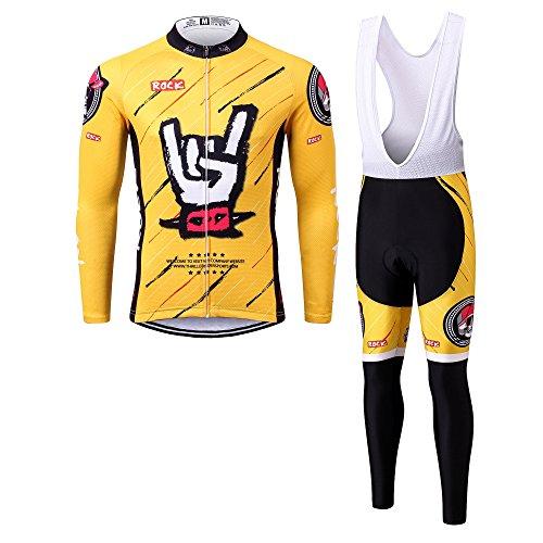 Thriller Rider Sports® Herren Rock Music Yellow Sport & Freizeit MTB Fahrradbekleidung Radtrikot Langarm und Radhose Lang Anzug 2X-Large (Rider Hose Sport Herren)