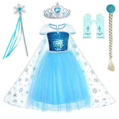 (CQY Gefrorene Anziehkleidung für kleine Mädchen ELSA Schneekönigin Anna Prinzessin Kostüme Geburtstagsfeier Kostüm Schneewittchen 3-12 Jahre Halloween-Kostüm,S)