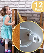 Heavy-Duty Anti-Tip Furniture Straps - 12 Pack - Inaya - Home Furniture Wall Anchors for Baby Proofing Dresser