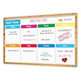 Crafty Charts - Magnetic Weekly Planner Flexible Dry Erase Board for Fridge / Reusable / Chore Chart / Academics / Agenda Organizer / Increases Productivity / Undated 11