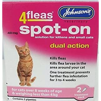 Johnson's Cat Kitten 4 fleas Dual Action Spot-on Solution Kills Fleas Dead (over 8 wks under 4kg) Johnson's Cat Kitten 4 fleas Dual Action Spot-on Solution Kills Fleas Dead (over 8 wks under 4kg) 51CnBJe NLL