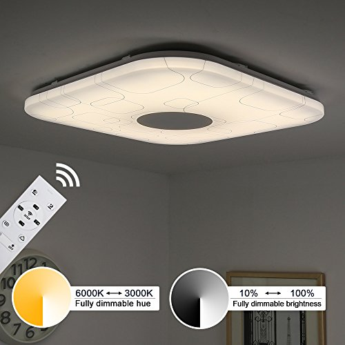 Kusun ® Telecomando luci da soffitto a LED, 2800 K, dimmerabile ( k-6500/RGB dimmerabile, 460 x 460 mm 2400LM CL819 F-24W-24W