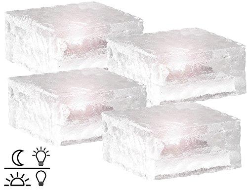 Lunartec Solarglasbausteine: Solar-LED-Glasbaustein mit Lichtsensor 4er-Set groß (10x10cm) (Leuchtsteine)