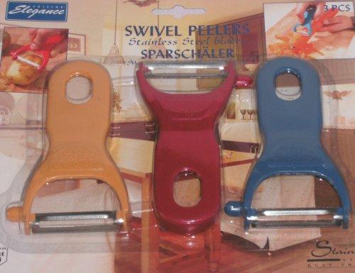 Sparschäler 3 Stück - Rot , Gelb , Blau - Edelstahlklinge rostfrei (Home Elegance 3 Stück)