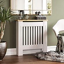 Vida Designs Arlington Radiator Cover White Modern Painted MDF Cabinet, Slats, Grill, Wood Top Shelf, Small