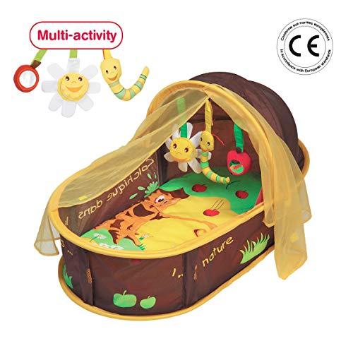 """LUDI - Dodo nomade """"chocolat"""", dès la naissance. Lit d'appoint léger ( - de 1 kg) avec matelas épais. Tissu avec Protection UV 50. Se plie et se range facilement. Fourni avec fixations au sol - 2808"""
