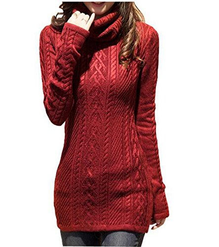 Women Polo Neck Combine Stretchable Elasticity Long Sleeve Slim Sweater Jumper