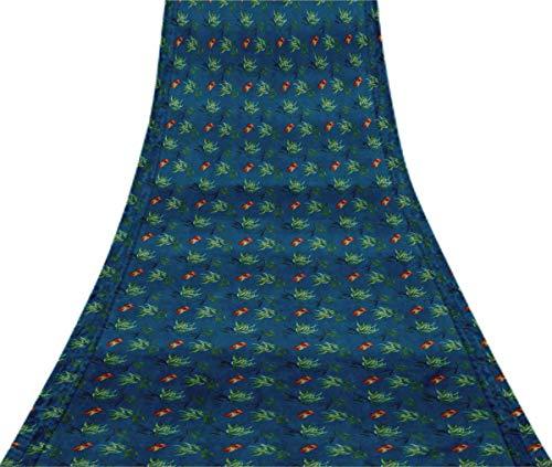 Svasti Blumen & Blätter Aquarell Vintage-Silk Sari Medium Blue Schneiderei Refurbished Craft Fabric Saree 1 Yard Gebraucht Blue Silk Sari