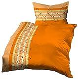 Gerald Wittmann 2 tlg. Baumwolle Linon Bettwäsche, Kariert Orange Gelb Creme, 140x200 cm + 70x90 cm