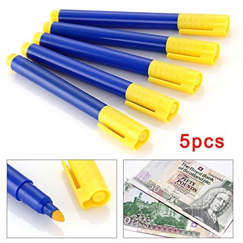 5 PCS Stylo roller détection argent détecteur, stylo détecteur de faux billets de banque, detecteur faux billet pour toutes devises euro/dollars/livres sterling