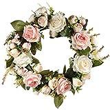 GZQ Guirnalda de Flores Artificiales, Flor Artificial Coronas Decoración de la Puerta de la Guirnalda para Interiores o Exteriores Hogar Boda Puerta de la Puerta Ventanas de Navidad