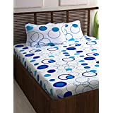 Story@Home Bedsheet for Double Bed with 2 Pillow Covers Combo Set, 100% Cotton - Magic Series, 152 TC, Geometric Circles (Blue and White)