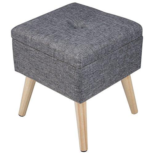 WOLTU Sitzhocker mit Stauraum Sitzwürfel Fußhocker Aufbewahrungsbox, Deckel Abnehmbar, Gepolsterte Sitzfläche aus Leinen, Holzbeine, 32x32x36,5CM(BxTxH), Dunkelgrau, SH26dgr