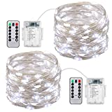 AMIR Led Fairy String Lights, 50 LED/16.4ft with Battery Operated Remote Control super brighter Lights, (2 Pack 8 Modes) Waterproof Decorative Lights for Garden, Bedroom, Party, Christmas (White)