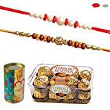 Maalpani Rakhi Chocolate Hamper - Set of 02 Rakhi and Ferrero Rocher
