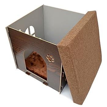 Eyepower Niche à Chien Dôme pour Chat 38x38x38cm Petite Maison S boîte carrée avec Couvercle rembourré pour s'asseoir Repose-Pied Marron