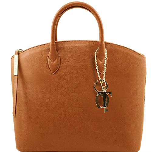 Tuscany Leather - TL KeyLuck - Borsa shopper in pelle Saffiano - TL141261 (Nude) Cognac