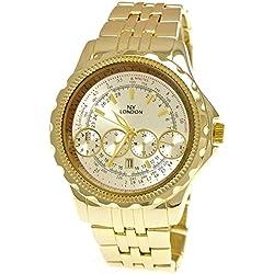 Massive NY London Herrenuhr Militär Uhr XXL Fliegeruhr mit Datum in Gold Silber inkl.Uhrenbox