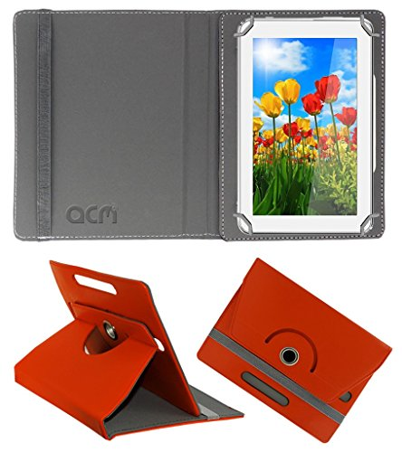 Acm Rotating 360° Leather Flip Case for Tescom Turbo 2g Cover Stand Orange  available at amazon for Rs.149