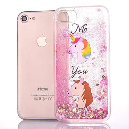 iPhone 7 4.7 Hülle, Voguecase Silikon Schutzhülle / Case / Cover / Hülle / TPU Gel Skin für Apple iPhone 7 4.7(Perlen Treibsand-Hustle Baby-Pink) + Gratis Universal Eingabestift Einhorn und Pferd / Pink