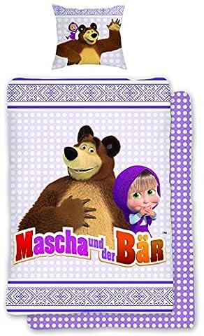'Parure de lit pour enfant en linon Macha et l'ours–135cm x 200cm + 80x 80cm 80cm neuf & Emballage d'origine–