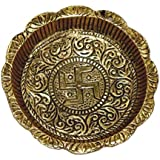 KishNiTa Pure Brass Small Thali(Plate) for Puja and Home Décor,150g(LengthXBreadth 10x10 cm)