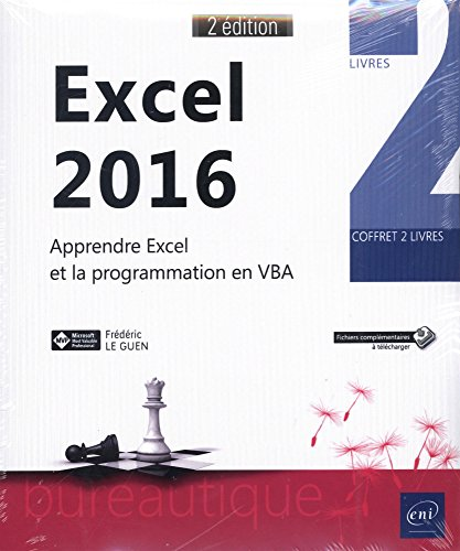 Excel 2016 - Coffret de 2 livres : Apprendre Excel et la programmation en VBA (2e édition) par Frédéric LE GUEN
