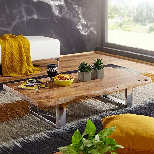 FineBuy Couchtisch Anura 115 x 25 x 58 cm Akazie Massiv Holz Metallgestell groß | Baumstamm Wohnzimmertisch Massivholz...