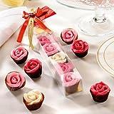 Handgefertigte Marzipan - Rosen (7 Stück = 90g) in Klarsichtverpackung mit Dekoschleife und Briefumschlag - Ideal zum Verschenken