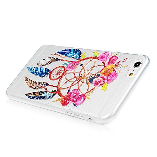 iPhone 6 plus/6s plus Hülle Badalink Gemalt TPU Case Cover Ultraslim Handyhülle Schutzhülle Silikon Bumper Schutz Tasche Schale Transparent Antikratz Backcover, Campanula Campanula