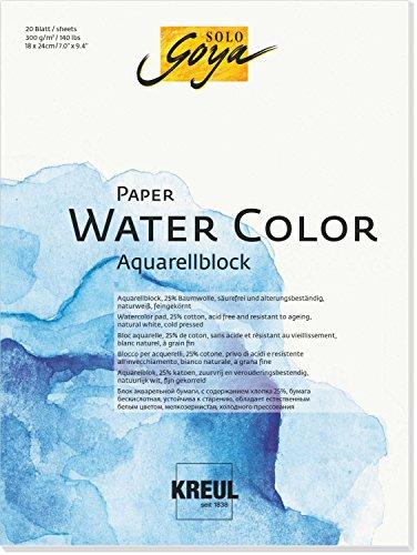 Solo Goya 68011 Paper Water Color, Aquarellblock, 20 Blatt, ca. 18 x 24 cm