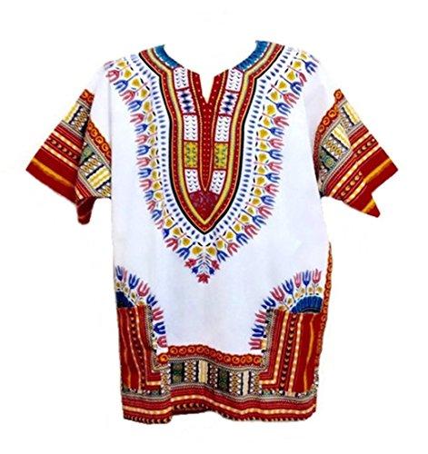 Dashiki maglietta da uomo spiaggia caftano africana Dashiki vari colori taglia L White with Red (Mens Dashiki)