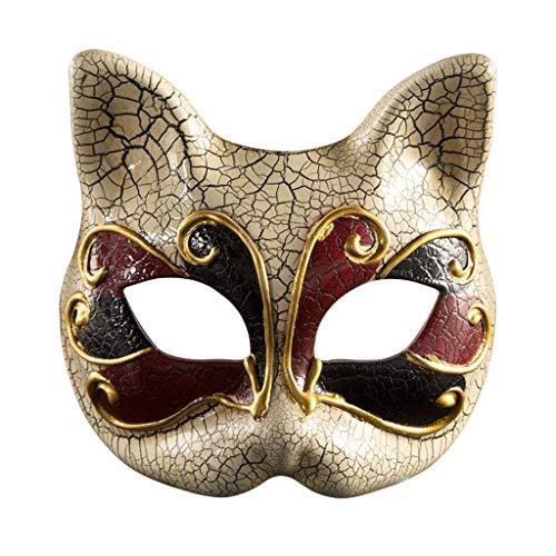Mardi Gras Kostüm Kinder - YYRZGW Venezianische Maskerade Masken Katzengesichtsmaske Halloween Kostüm Mardi Gras Augenmaske für Kinder-Rot
