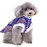 Púrpura y Azul Perros Tang Suit con el Lado Blanco para el Invierno, China Estilo Tradicional Mascota Mono Lavable Ropa Caliente para Halloween Traje de Navidad Disfraz,1,XL
