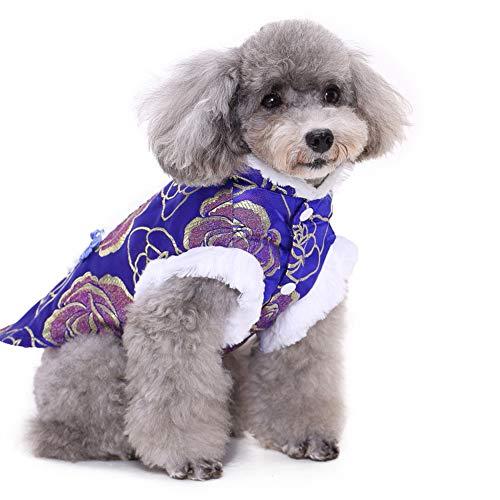 PapiPet Lila&Blau Hunde Tang-Anzug mit weißer Seite für den Winter, China Traditioneller Stil Haustier Overall Waschbar Warme Kleidung für Halloween Weihnachten Kostüm,1,XL