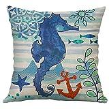 Blling Coussin Bleu Turquoise,La Vie Marine La Tortue De Mer De Corail Hippocampe Baleine Octopus Housse De Coussin DéCorative En Lin Coton Imprimé De Belles Fleurs 40X40Cm/ 45X45Cm / 50X50Cm/ 60X60Cm