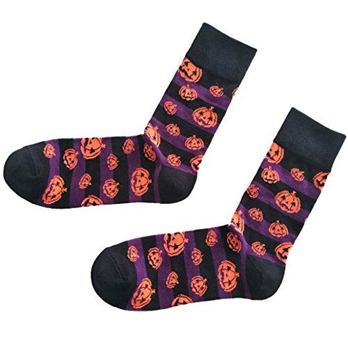 LuckyGirls Halloween-Männer u. Frauen-Baumwollsocke-Schläger-Kürbis-Schweiß-absorbierende atmungsaktive Socken Karikatursocken (Lila) (Kampf Erwachsene Stiefel)