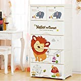TheTickleToe DIY 5 Layers Thickened Fiber Plastic Cartoon Happy Animals Chest Of Drawers For Kids- Two Locks, White