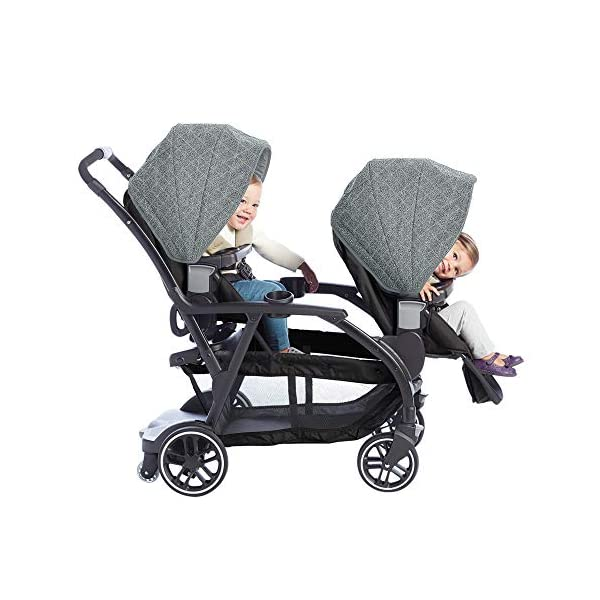 Graco Modes Duo Tandem Pushchair, Shift Graco 27 riding options for 2 children from infant to toddler; click connect attaches with all graco snug ride/essentials infant car seats. suitable from birth to 13kg (approx. 3 years) Two removable, multi-position reclining seats can be positioned rear or forward facing; the built-in bench seat gives your big kid a place to rest; both front and rear seats hold up to 15kgs One-hand standing fold, folds with seats on or off; locking front swivel wheels for superior manoeuvrability; one-step brakes make stopping, and going again, quick and easy 3