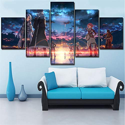 Mddrr Mural Canvas Prints Modular Pictures Wall Art Home Decor Living Room Poster 5 Pieces Sword Art Online Ii Paintings Decor Frame