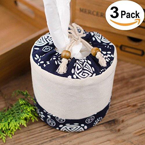 ZSY Home Kleenex Halter Gemälde Stoff Gewebe Box - Leinen Blau Weiß Gemälde Muster Stoff Gesichts Gewebe Box Abdeckung Zum Aufrecht Kleenex Boutique Gewebe 3 Pack -