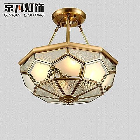 N.DFB Continental-wide copperLedCeiling luci intorno le lampade di bronzo rame continentale americano di luce soggiorno studio camera da letto lampade di bronzo,B45cm