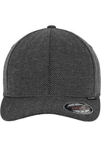 Flexfit Mütze Herringbone Melange (schwarz/grau) Baseball Cap (S/M oder L/XL)