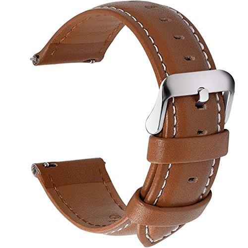 Fullmosa 12 Farben Uhrenarmband, Axus Serie Lederarmband Ersatz-Watch Armband mit Edelstahl Metall Schließe für Herren Damen 14/16/18/20/22/24mm,Braun 18mm