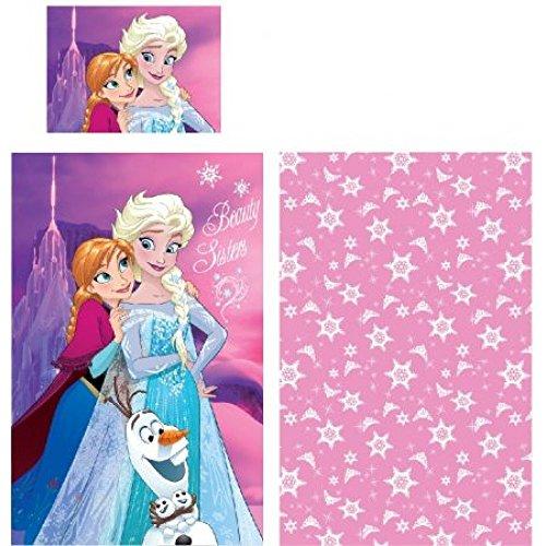 Just1Click | Kinder Bettwäsche Set ELSA und Anna und Olaf | 100 x 140 cm, Kissen 40 x 60 cm |Bedruckt mit ELSA und Anna aus dem Film die Eiskönigin (Frozen) für Mädchen, 100% Baumwolle
