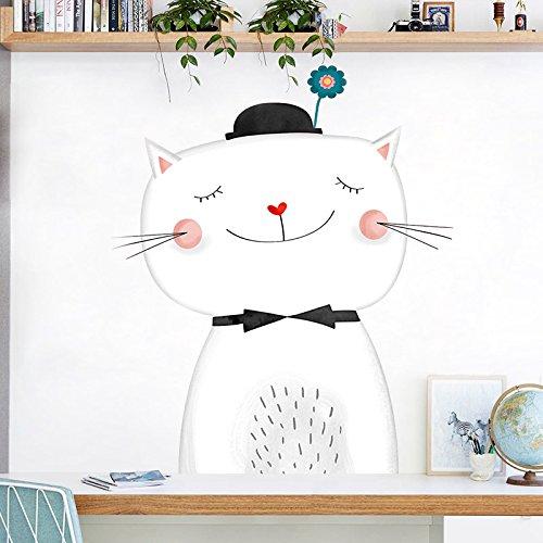 mznm literarischen Cat Cute Wand Aufkleber Wohnzimmer Schlafzimmer Wand selbstklebend Tapete Aufkleber College Wohnheim Dekoration Aufkleber